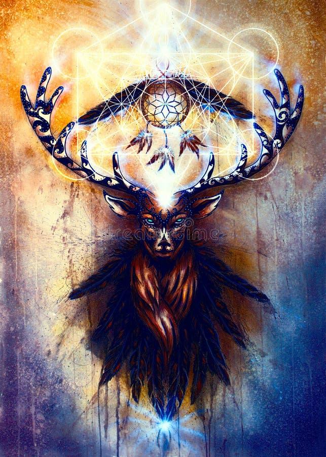 Sakral dekorativ hjortande med dröm- stopparesymbol och fjädrar och merkaba stock illustrationer