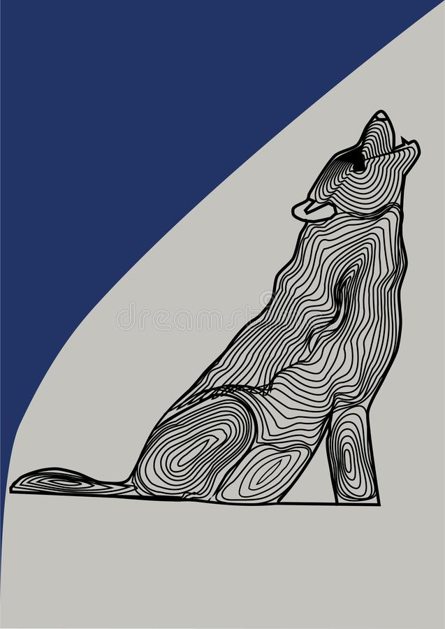 Sakral djur varg i en vektorbild, varg som är svartvit på en kulör bakgrund royaltyfri illustrationer
