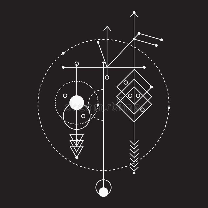 Sakral geometri, beståndsdelar för grafisk design för vektor stock illustrationer