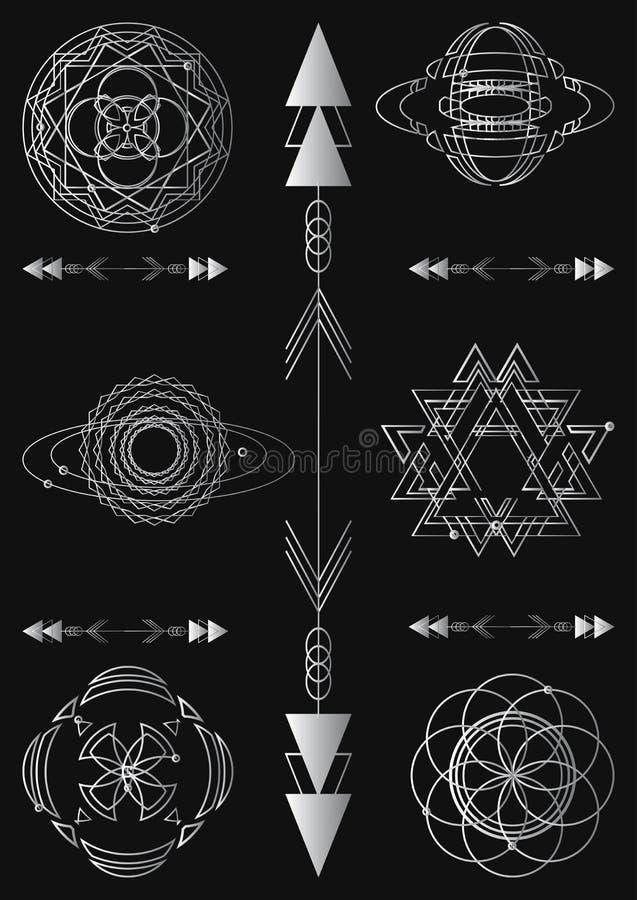 Sakral geometri, beståndsdelar för grafisk design för vektor Uppsättning royaltyfri illustrationer