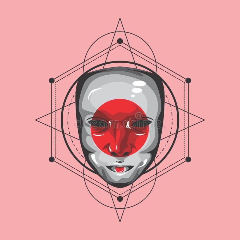 Sakral geometri för Geisha royaltyfri illustrationer