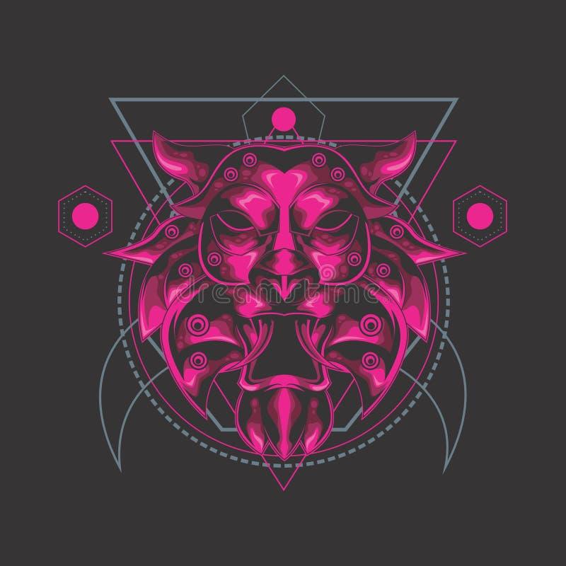 Sakral geometri för lejon royaltyfri illustrationer