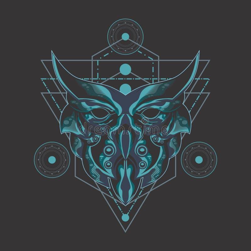 Sakral geometri för mörk uggla vektor illustrationer