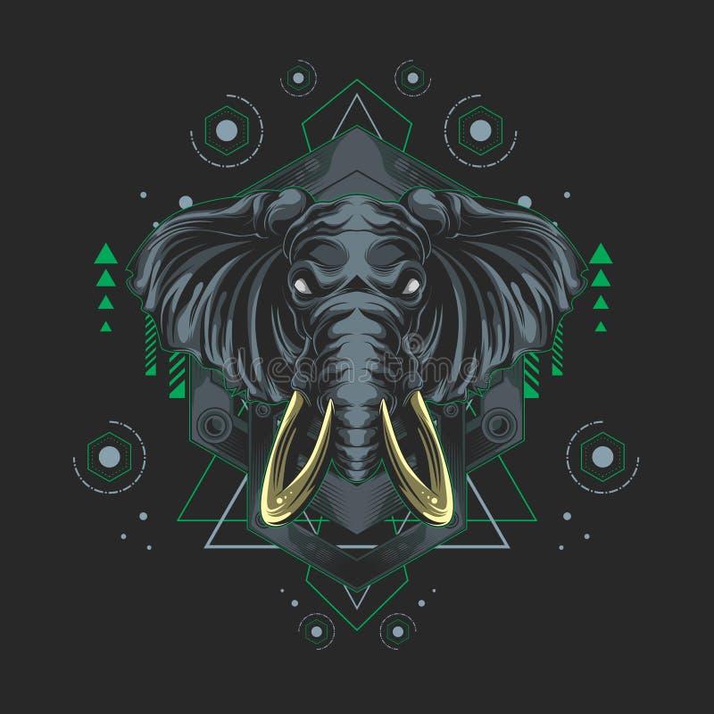 Sakral geometri för metallelefant vektor illustrationer