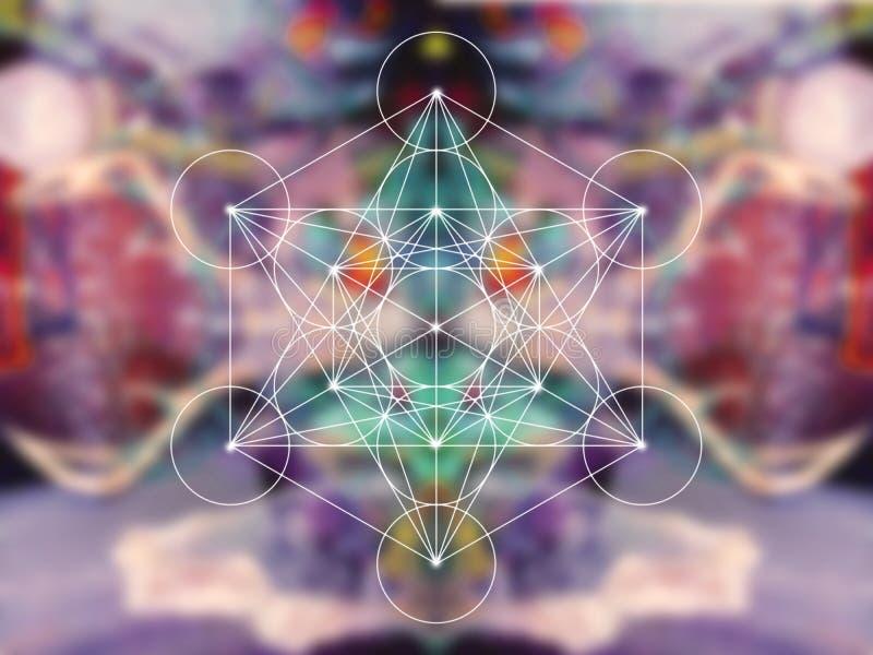 Sakral geometri för Metatron kub arkivfoto