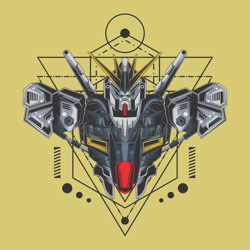 sakral geometri f?r ultimat gundamk?mpe royaltyfri illustrationer