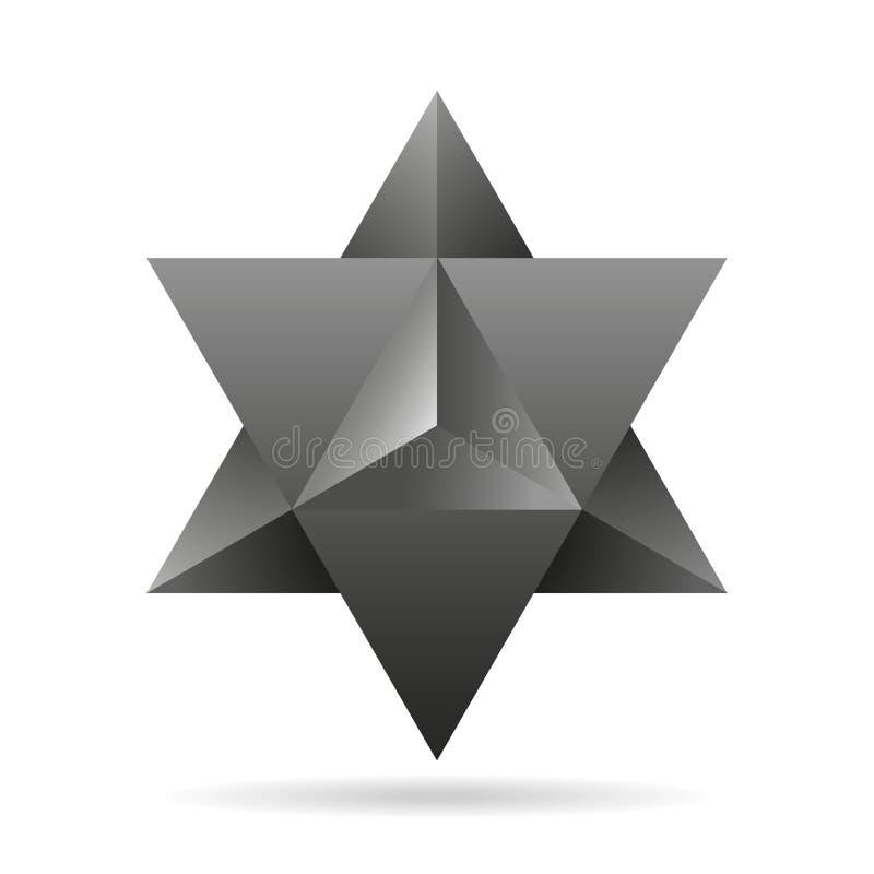 sakral geometri tunn linje geometrisk triangelform för merkaba royaltyfri illustrationer