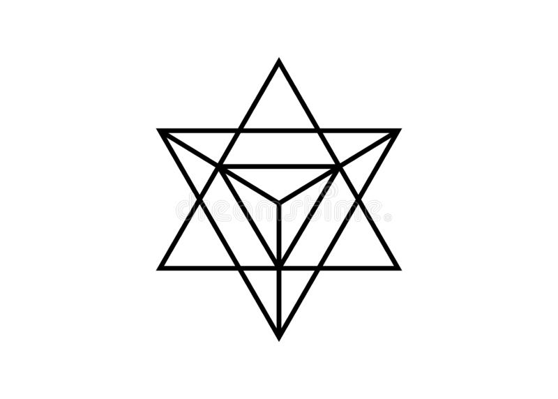 sakral geometri tunn linje geometrisk triangelform f?r merkaba Esoteriskt eller andligt symbol bakgrund isolerad white stj?rna royaltyfri illustrationer