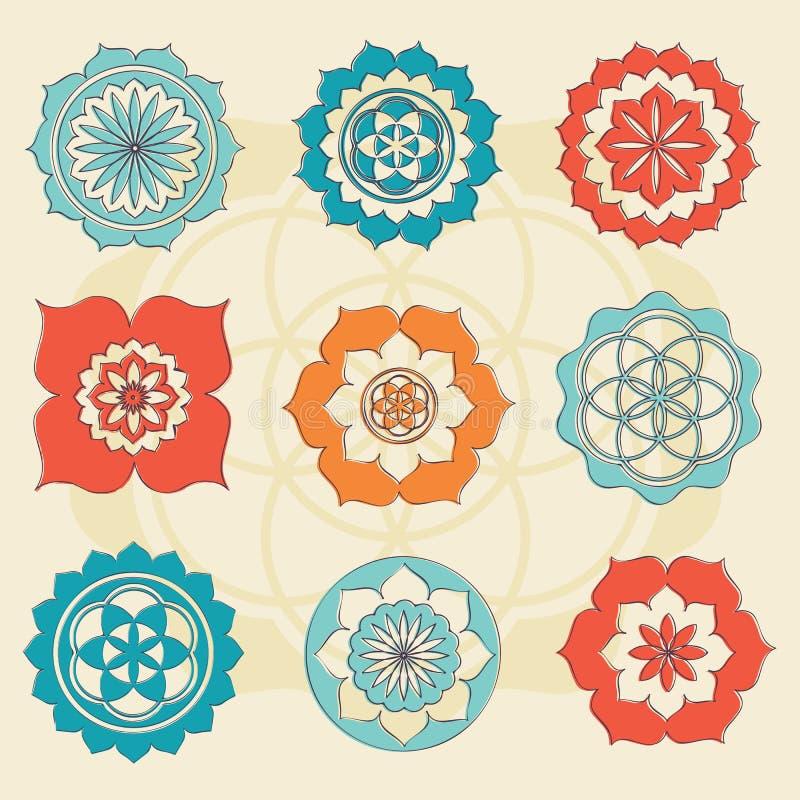 Sakral geometriblomma av livsymboler vektor illustrationer