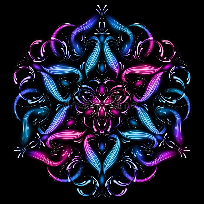 Sakral geometriillustration för abstrakt mandala abstrakt härlig fractal Mystisk avkopplingmodell Yogamall royaltyfri illustrationer