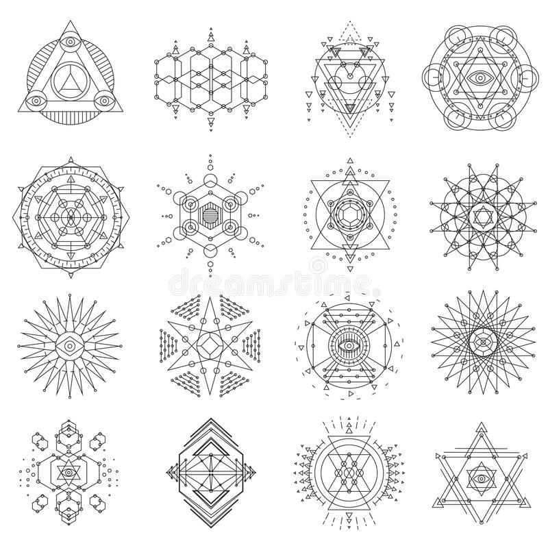 Sakral Geometrilinje Konstuppsättning Vektor Illustrationer ...