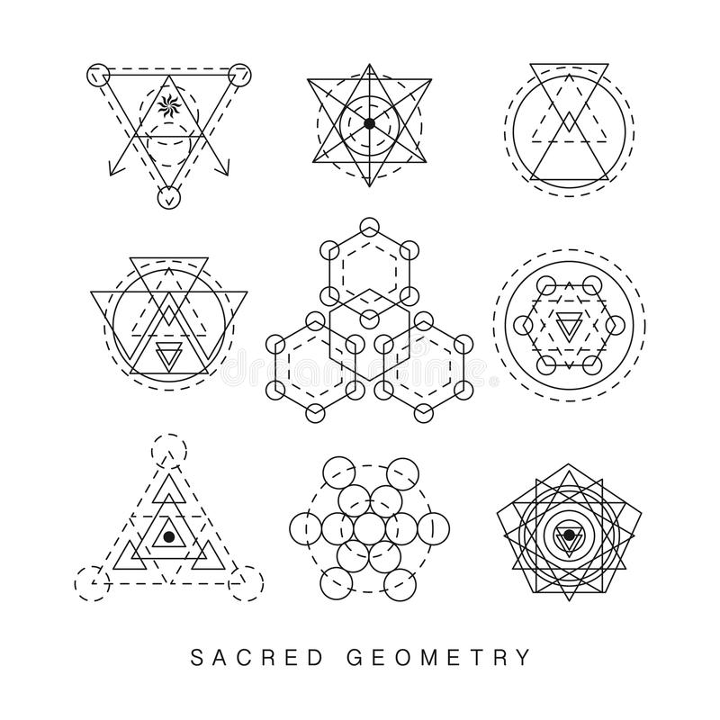Sakral Geometriteckenuppsättning Vektor Illustrationer ...