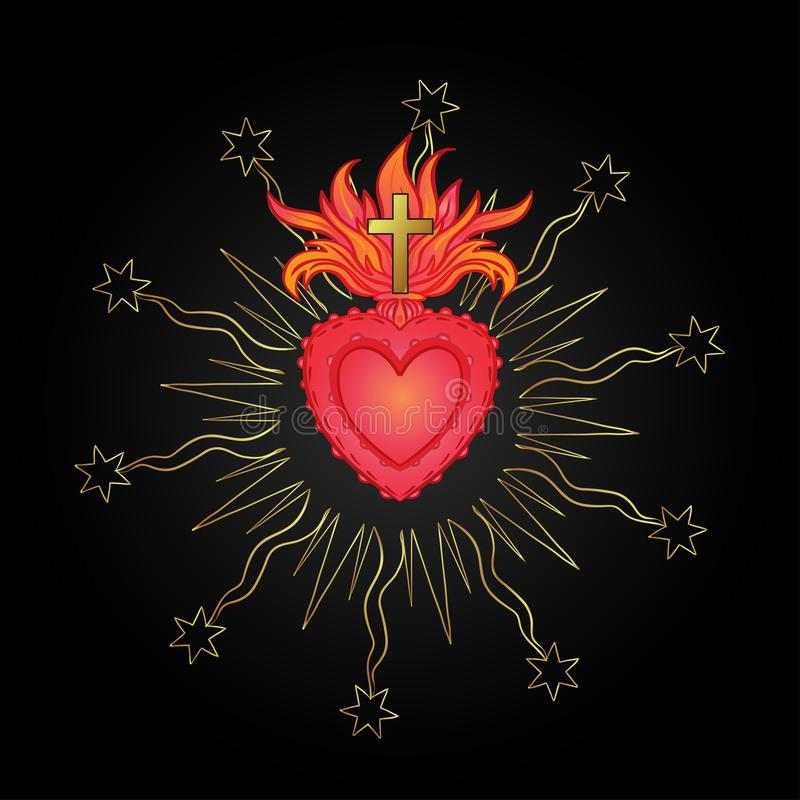 Sakral hjärta av Jesus med strålar Vektorillustration i rött och royaltyfri illustrationer