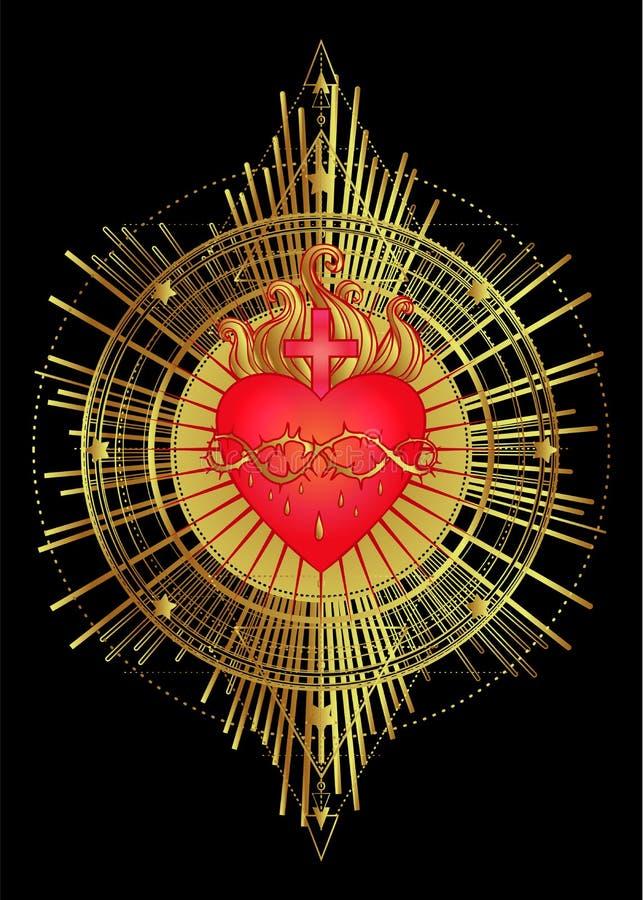 Sakral hjärta av Jesus med strålar Vektorillustration i rött och vektor illustrationer
