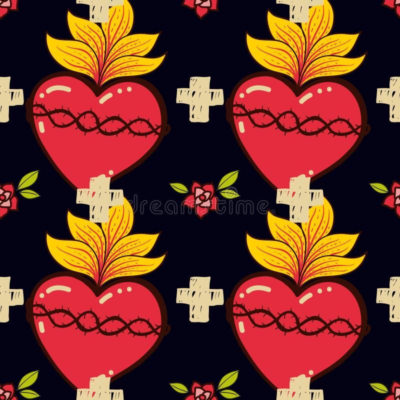 Sakral hjärta, kors, stil för tatuering för schooll för sömlös modell för ros gammal stock illustrationer
