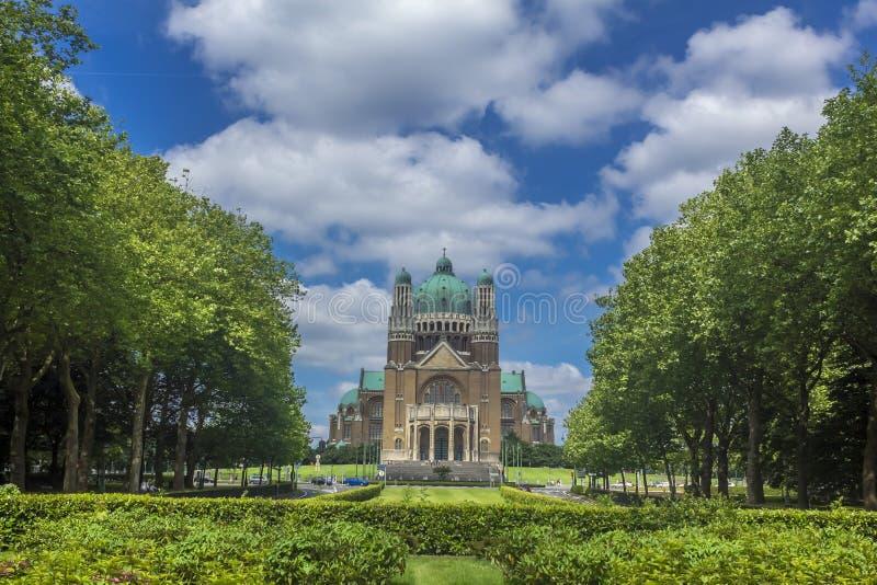 Sakral hjärta Parc Elisabeth Brussels Belgium för basilika royaltyfri foto