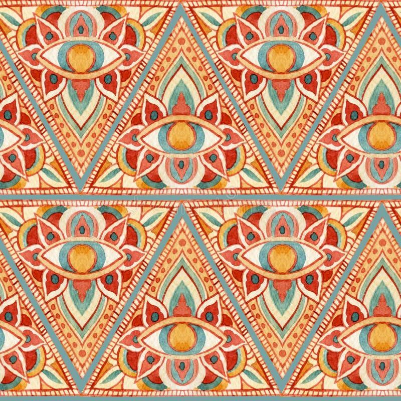 Sakral sömlös modell för abstrakt vattenfärgtriangel royaltyfri illustrationer