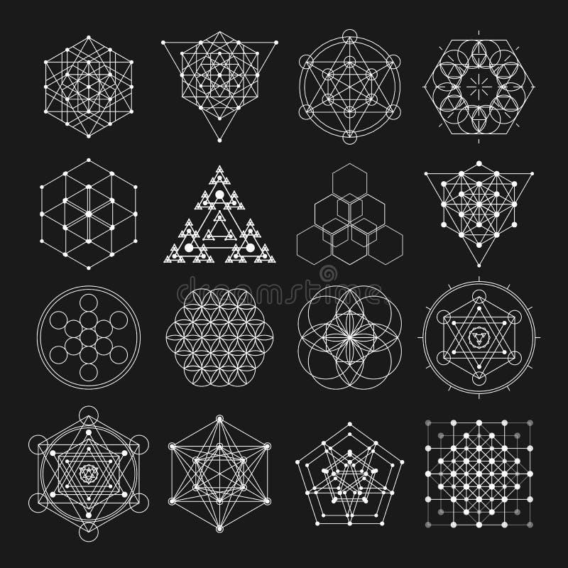 Sakrala beståndsdelar för geometrivektordesign Alkemi, religion, filosofi, andlighet, hipstersymboler och beståndsdelar stock illustrationer