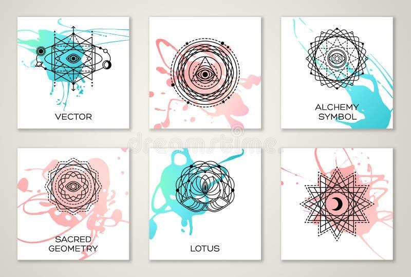 Sakrala geometriformer på vattenfärg royaltyfri illustrationer