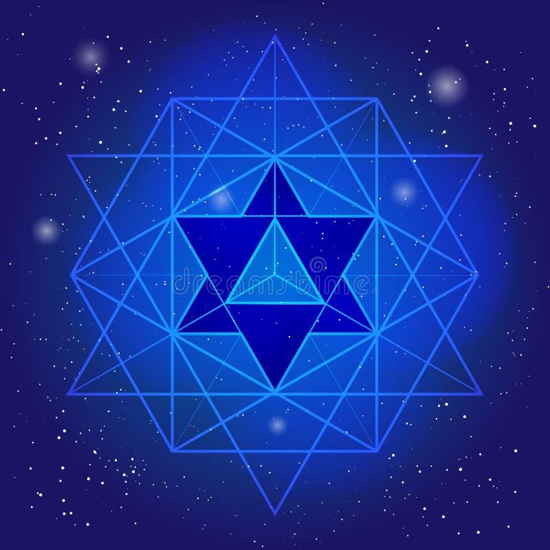 Sakralny geometria projekt z wielobokiem na tle przestrzeń i gwiazdy Magiczny symbol, mistyczny kryształ Duchowa grafika ilustracji