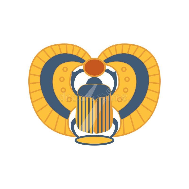 Sakralt fel för skarabéegyptier, symbol av illustrationen för soltecknad filmvektor royaltyfri illustrationer
