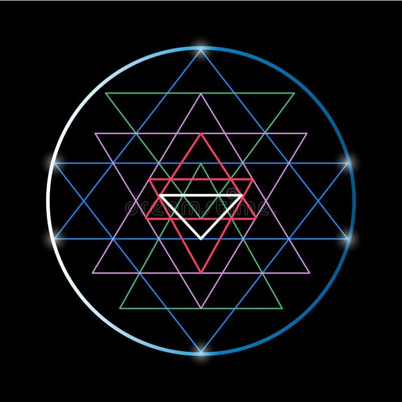 Sakralt geometri- och alkemisymbol Sri Yantra stock illustrationer
