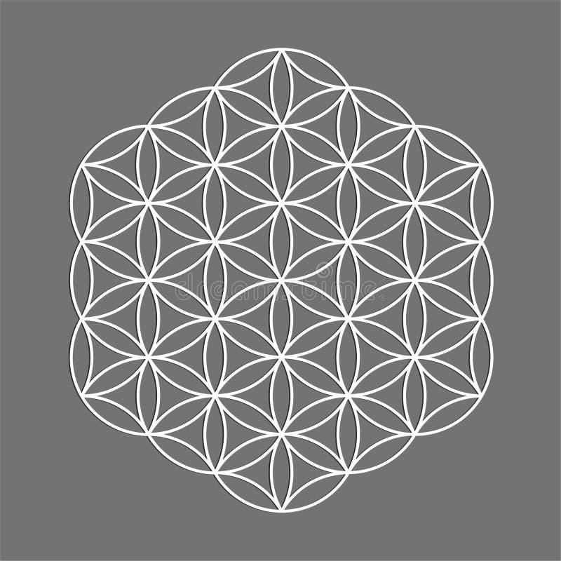 Sakralt geometrisymbol, blomma av liv för alkemi, andlighet, religion, filosofi, astrologiemblem eller etikett Vit symbolslogo stock illustrationer