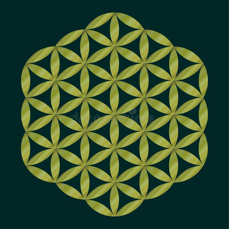Sakralt geometrisymbol, guld- blomma av liv för alkemi, andlighet, religion, filosofi, astrologiemblem eller etikett Guld- ico stock illustrationer