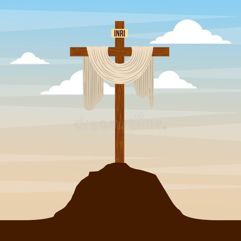 Sakralt kors i design för religion för kullehimmel katolsk stock illustrationer