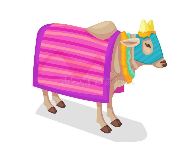 Sakralt traditionellt indiskt djur i Hinduism, Jainism, Zoroastrianism, sakral ko royaltyfri illustrationer