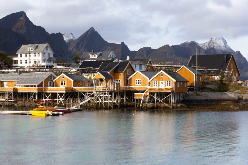 Sakrisoy - Lofoten-Eilanden - Noorwegen royalty-vrije stock foto's
