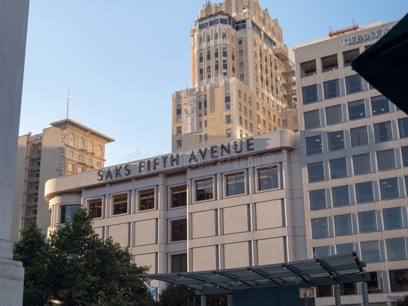 Saks Fifth Avenue lokacja przy Union Square w San Francisco zdjęcie royalty free