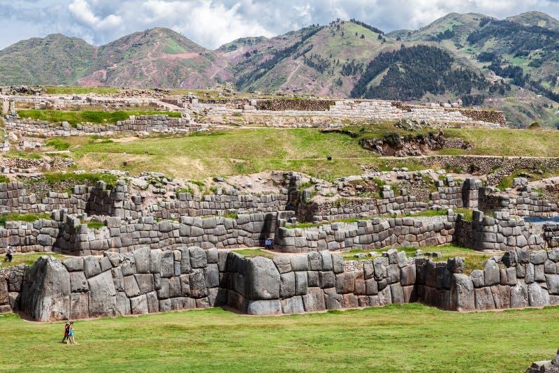 Saksaywaman fästning Cusco Peru arkivfoto