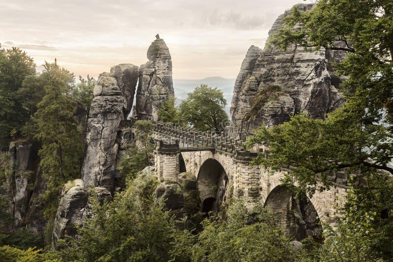 Saksisch Zwitserland Elbe riviermening van de abdij Bastei royalty-vrije stock afbeeldingen