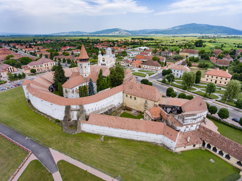 Saksische versterkte kerk in Prejmer, Transsylvanië, Roemenië royalty-vrije stock afbeelding