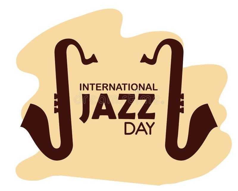 Saksofonów instrumenty międzynarodowy jazzowy dzień ilustracja wektor