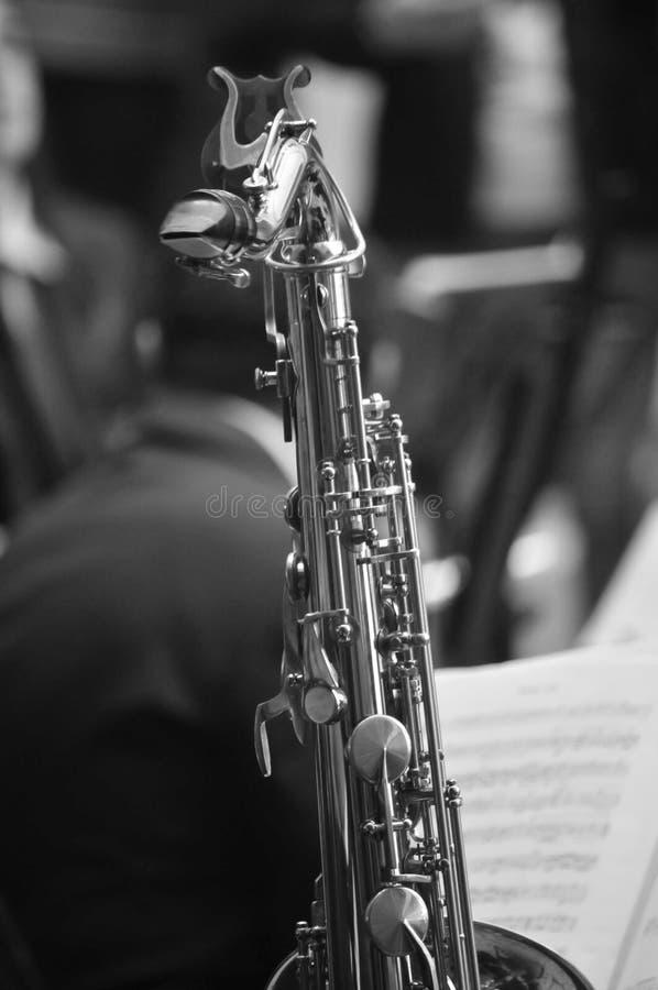 Saksofon i particuar czarny i biały zdjęcia royalty free