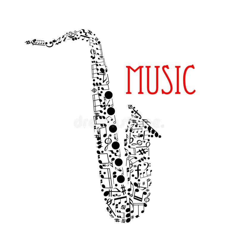 Saksofon z muzykalnymi notatkami dla muzycznego projekta ilustracji