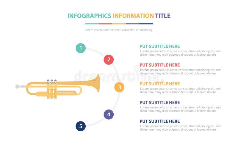 Saksofonowy infographic szablonu pojęcie z pięć punktami spisuje i różnorodny kolor z czystym nowożytnym białym tłem - wektor ilustracja wektor