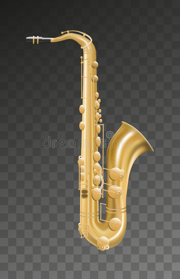 Saksofonowy muzyczny instrument na przejrzystym tle royalty ilustracja