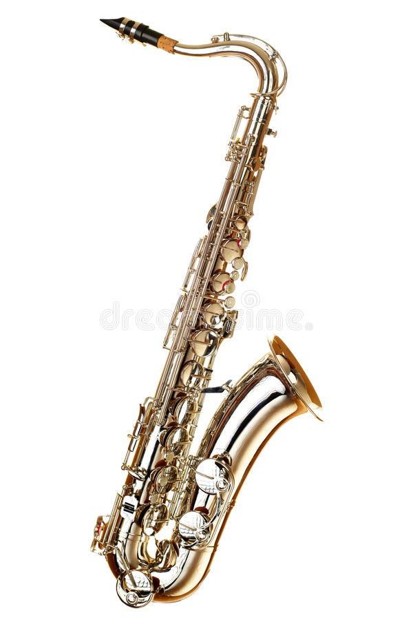 saksofonowy tło biel fotografia stock