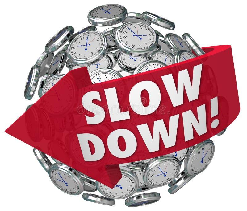 Sakta ner klockasfären Tid som för snabbt passerar snabb varning stock illustrationer