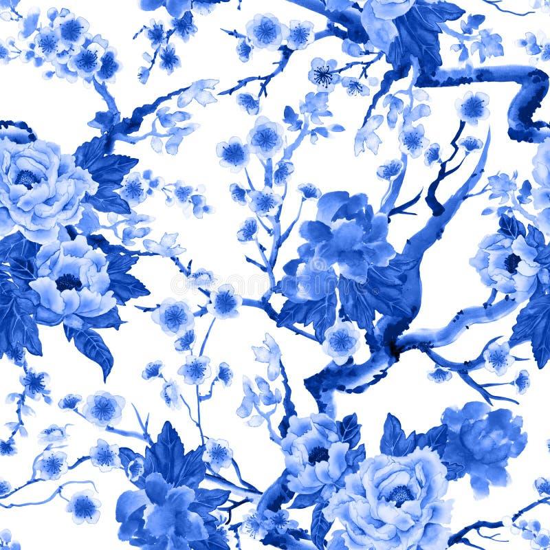 Sakura και peony λουλούδια διανυσματική απεικόνιση