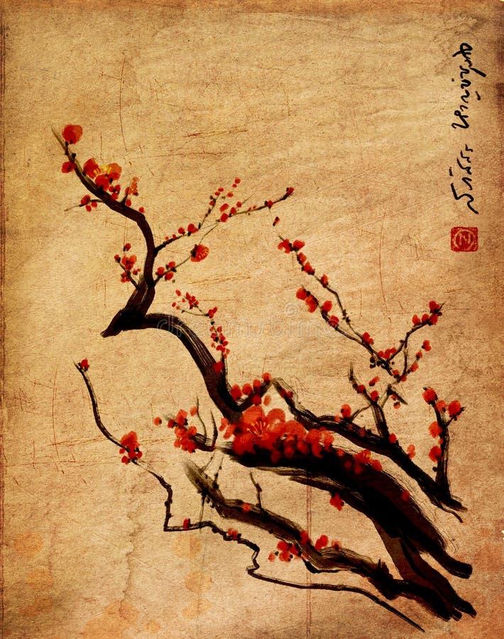 Sakura, цветение вишни с китайцем чистит картину щеткой иллюстрация вектора