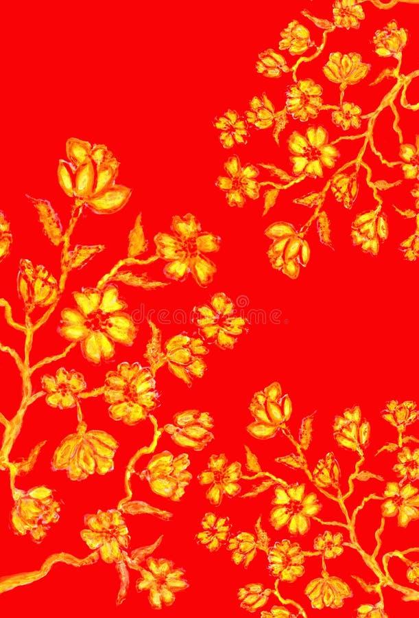 Sakura Art d'or illustration stock