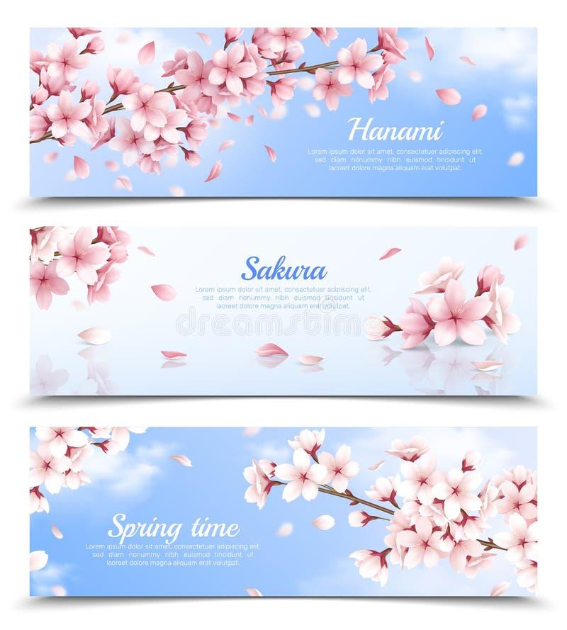 Sakura Banners Set illustrazione vettoriale