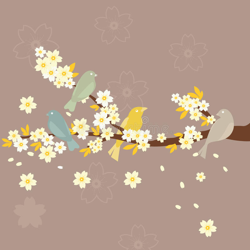 Sakura and Birds vector illustration