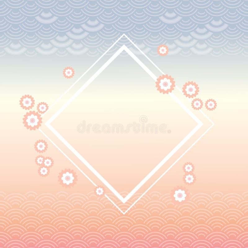 sakura blommor, fyrkantig vit ram, abstrakt trendgryning, blå grå rosa design för färgkortbaner för enkel natur för textvåg vektor illustrationer