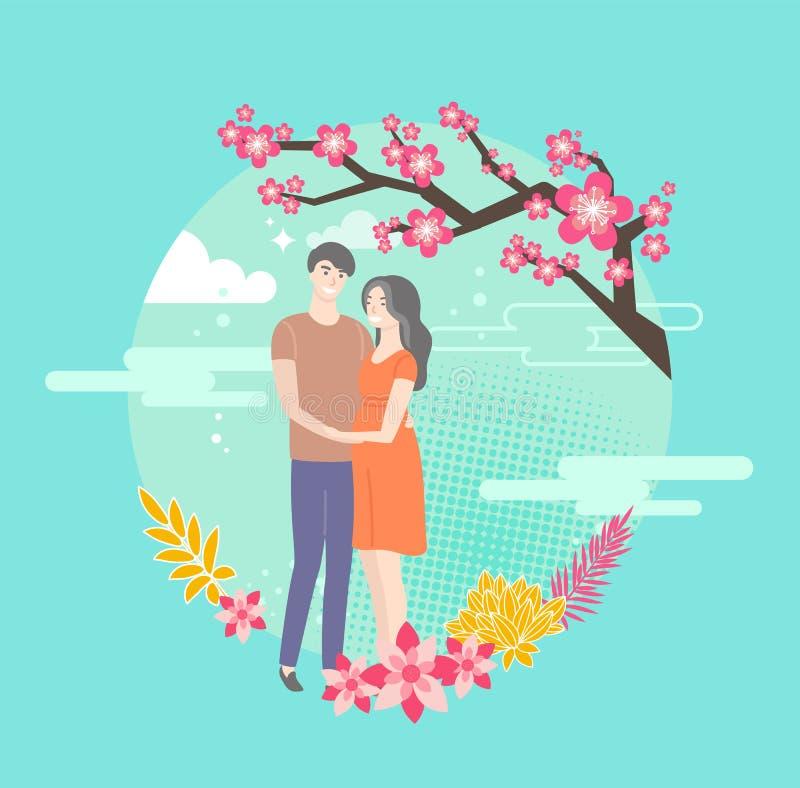 Sakura Blossom et étreindre les jeunes dans l'amour illustration libre de droits