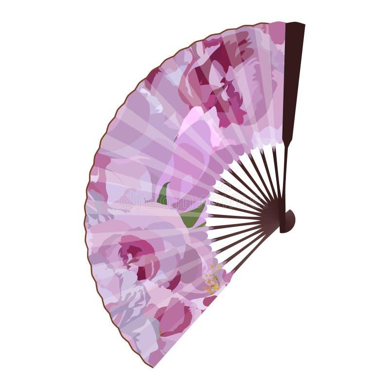 Sakura blossom folding fan, vector isolated illustration royalty free stock image